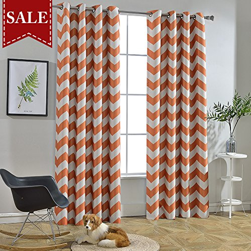 Orange And White Curtains (Melodieux Chevron Room Darkening Blackout Grommet Top Curtains, 52 by 84 Inch, Orange (1)