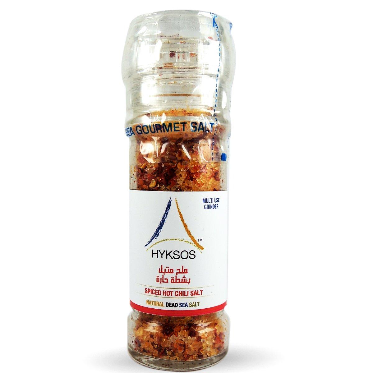 Hyksos Natural Spiced Hot Chilli Salt 3.9 oz - Multi Use Grinder