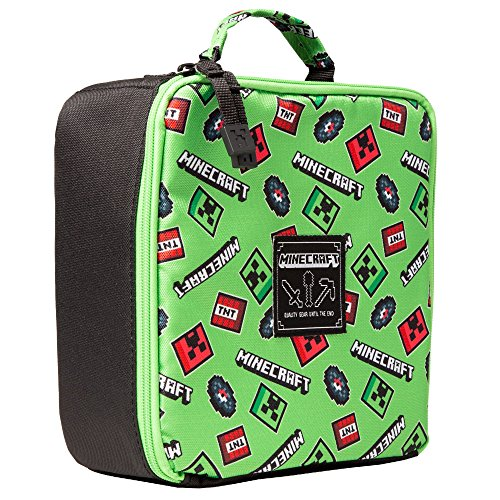 JINX Minecraft Scatter Creeper Insulated Lunch Bag (Green) (Green, 8.5x 4)