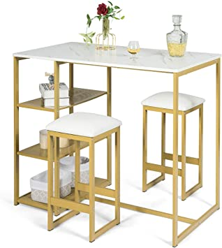 3 Piece Pub Set w// Faux Marble Top Bar Table and 2 Stools Dining Set Industrial