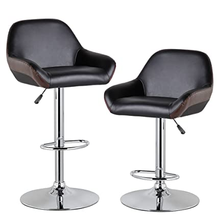 Pleasant Kerland Adjustable Bar Stools Set Of 2 Modern Pu Leather Kitchen Swivel Counter Height Bar Stool Chairs With Back And Arms Chrome Footrest Brown Machost Co Dining Chair Design Ideas Machostcouk