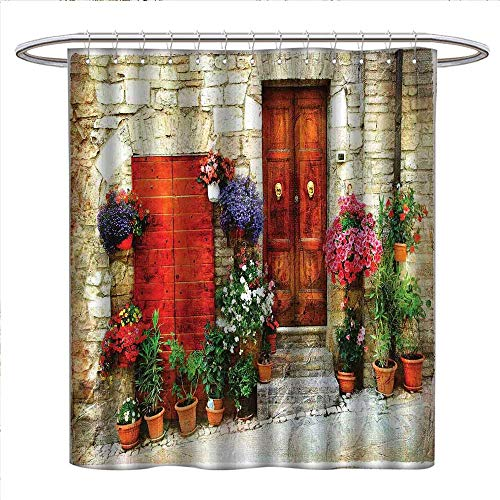 (Anzhutwelve Tuscan Shower Curtains Fabric Extra Long Colorful Flowers Outside Home in Italian Hilltown Assisi Rustic Door Image Bathroom Accessories W72 x L72 Ivory Orange Violet)