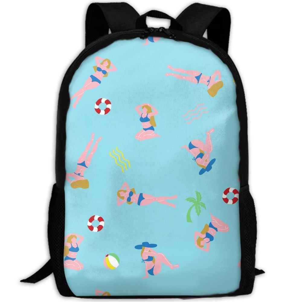 38aee2465b SZYYMM Design Swimming Girl Pattern Oxford Cloth Fashion Backpack ...