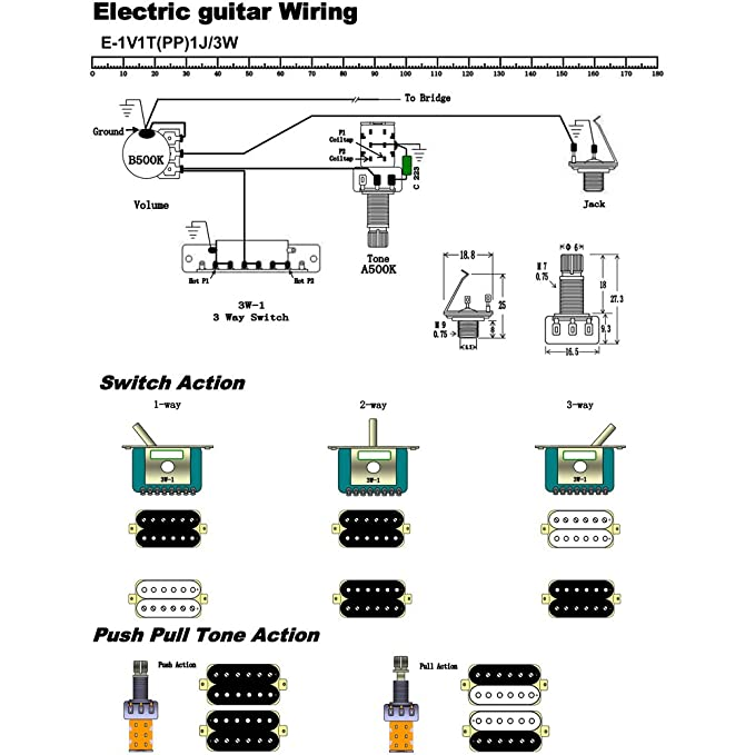 Electric Guitar Wiring Kit 1 Volume 1 Tone 3 Toggle: Amazon ... on fender wiring diagrams, jackson guitar pickup wiring diagram, japan strat wiring diagrams, gibson quick connect diagrams,