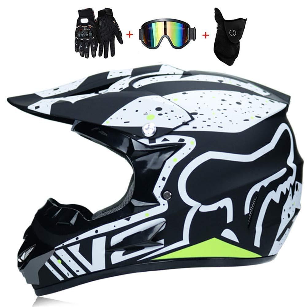 Casque de VTT pour Enfants Quad Bike Casque de v/élo de Montagne Gants Gants Masques Ensemble de 4 YUCARAC Casques Moto Casques de Motocross Casques de Ville Casques BMX Casques Moto de Cross
