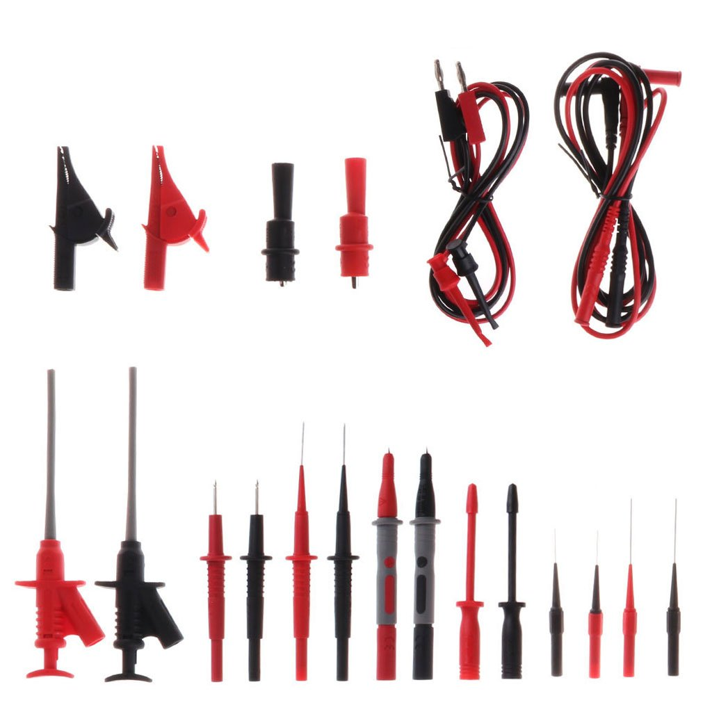 hibyebuying 22pcs Multimeter Car Test Accessory Set 4mm Lead Cable Alligator Clips Probe Kit