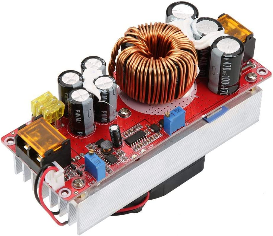 ASHATA DC-DC 10-60V to 12-97V 1500W 30A Voltage Step Up Converter Boost CC CV Power Supply Constant Current Module with Smart Temperature Control Fan for Solar Street lamp LED Lighting CV Driving