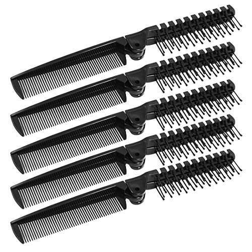 uxcell Black Plastic Double Headed Foldable Straight Hair Beauty Fine Teeth Comb 5 Pcs (Foldable Comb)