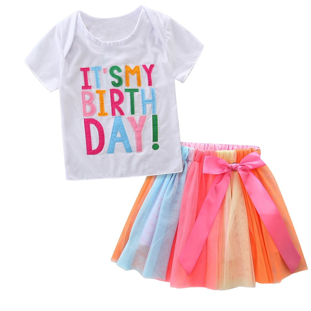 HBER 1-7T Baby Little Girls Letters T-Shirt + Colorful Rainbow Skirts Birthday Gift Outfits Set