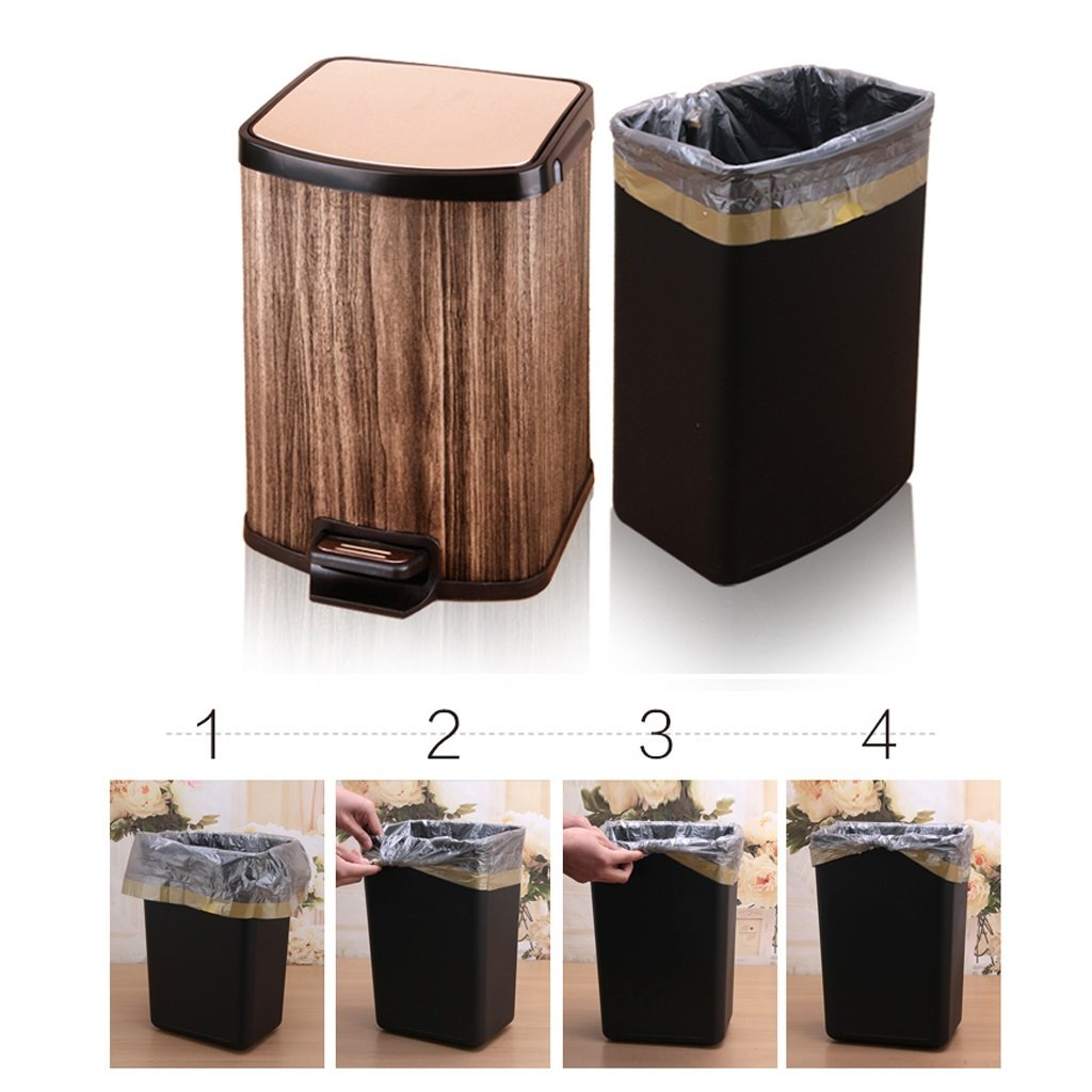 Wastebaskets Modern Creative Stainless Steel Home Rectangular Pedal Living Room Bedroom Bathroom Bathroom Mute Trash can (Size : 12L)