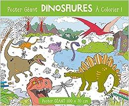 Coloriage Dinosaure Sur Ordinateur.Poster Geant Dinosaures A Colorier Amazon Fr Anton Poitier