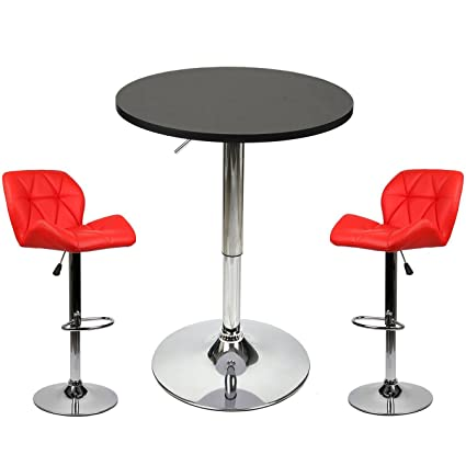 Elecwish Pub Table With Bar Stools Set For Kitchen Home Dining Room (Red  Set A