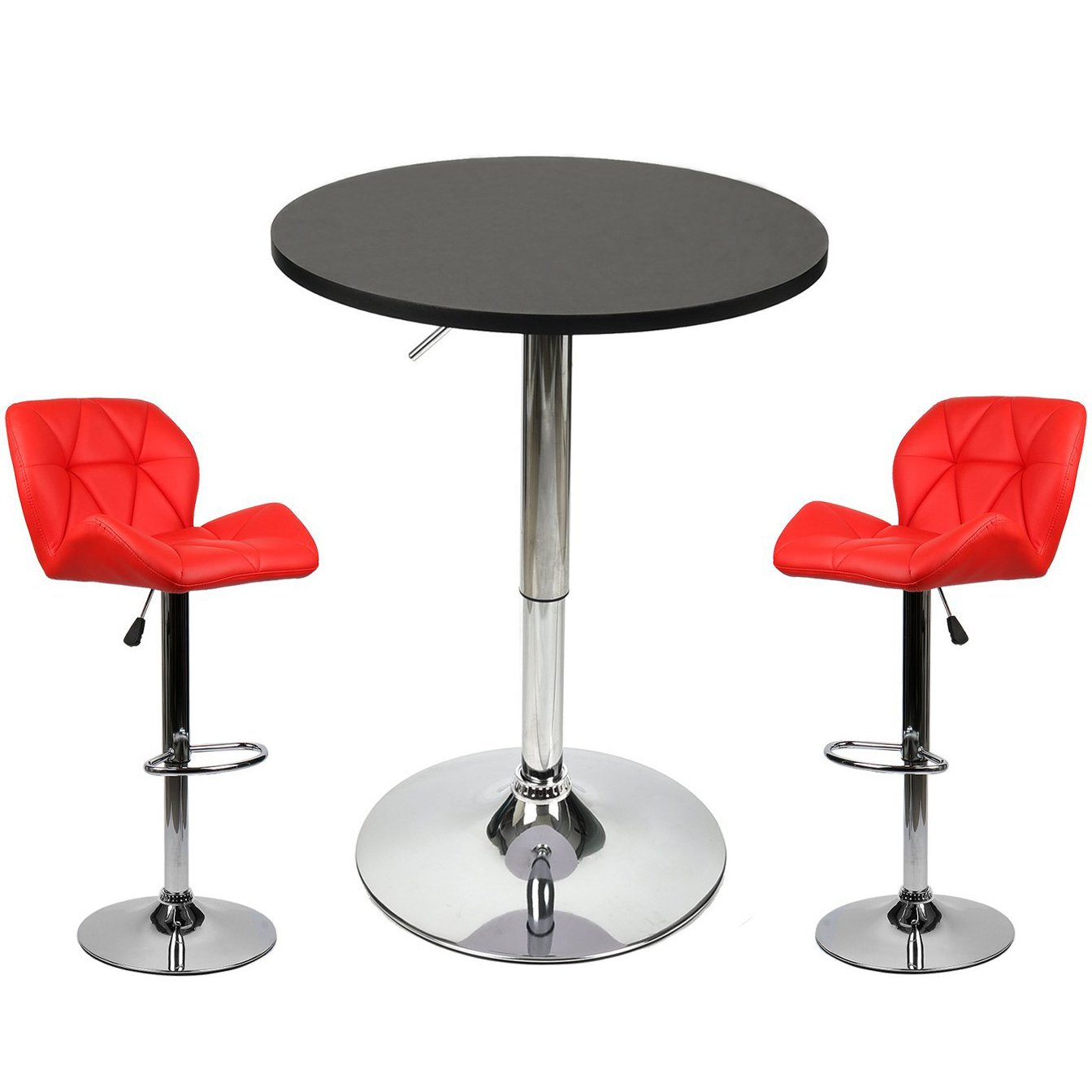 Elecwish Pub Table with Bar Stools Set for Kitchen Home Dining Room (Red Set A)