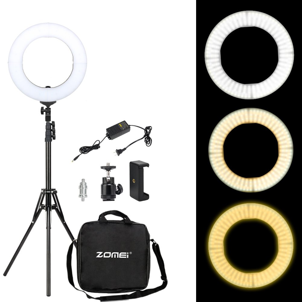 Zomei 14 Inches Dimmable Ring Light- 41W 3200-5500K SMD LED Lighting Kit with Stand and Phone Adapter for Makeup, Portrait Photography, Selfie, Camera Smartphone Youtube Video Shooting by ZoMei
