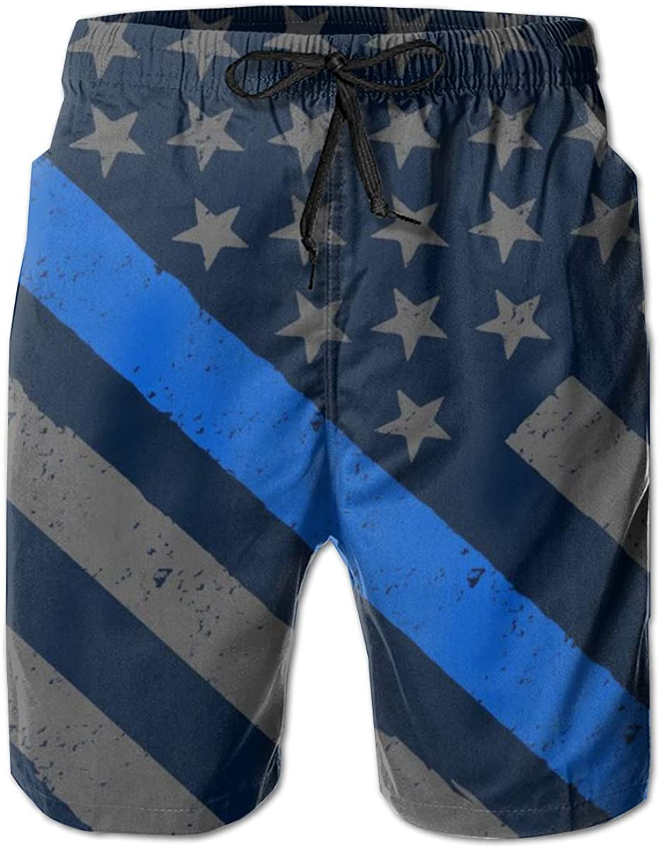 YongColer Mens Beach Shorts Quick Dry Surfing Swim Trunks with Pockets Retro Police Officer Flag