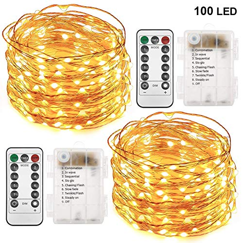 Twinkle Star 33FT 100 LED Copper Wire String Lights Fairy String Lights Battery Operated Waterproof 8 Modes LED String Lights Remote Control Christmas Wedding Party Home, 2 Pack, Warm White