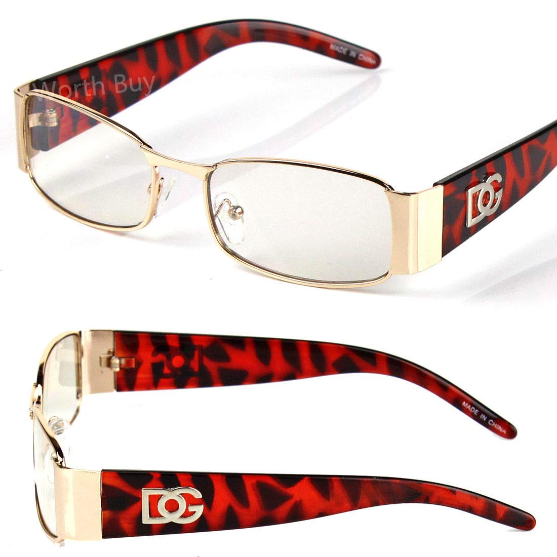 14ba79985b32 Amazon.com: DG Clear Lens Frame Glasses Rectangular Fashion Nerd Mens  Womens Gold Brown Camo: Clothing