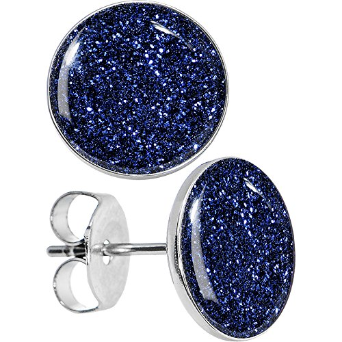 Body Candy Stainless Steel Midnight Blue Glitter Stud Earrings