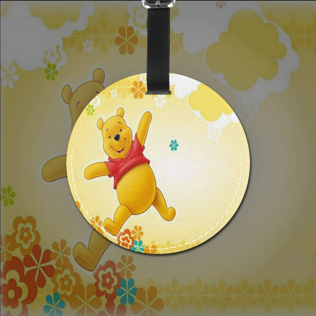 WEIBING Round Luggage TagPooh Bear Fly Luggage Tags Suitcase Labels Bag Travel Accessories