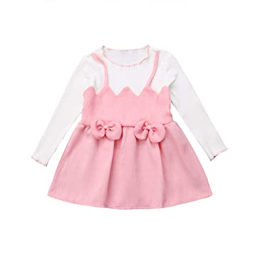 03e66fc193 Image Unavailable. Image not available for. Color: Princess Girl Dress  Infant Girl A-line Bow Dress Long Sleeve Sweet Girl Dresses Party
