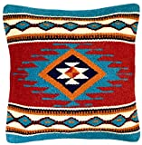 El Paso Designs Throw Pillow Covers, 18 X 18, Hand Woven in Southwest and Native American Styles. Hand Crafted Western Decorative Pillow Cases in Wool. (La Jolla 7)
