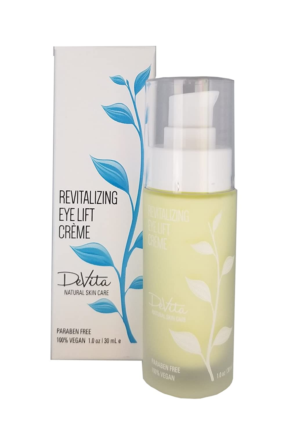 DeVita Revitalizing Eye Lift Cream - vegan eye serum treatment for wrinkles, made with aloe to help reduce puffiness, fine lines under and around eyes.
