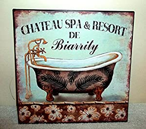 SHABBY CHIC VINTAGE FRENCH PARIS STYLE METAL WALL SIGN PLAQUE BATHROOM GIFT  FLORAL