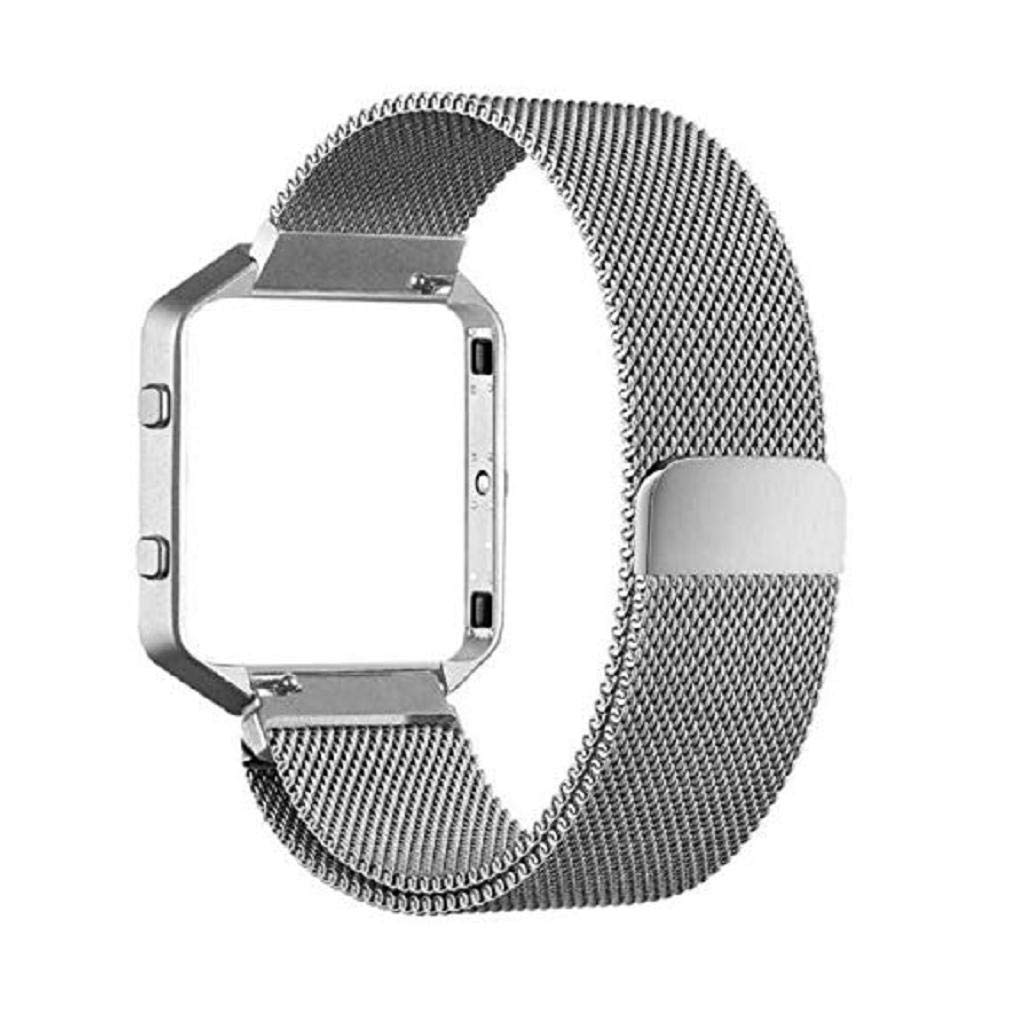 Fashion Clearance! Noopvan Fitbit Blaze Strap,Milanese Loop Stailess Steel Bracelet Strap with Metal Frame Smart Fitness Watch, Fitbit Blaze Replacement Band with Unique Magnet Lock (Silver)