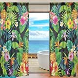 SEULIFE Window Sheer Curtain, Tropical Pineapple Palm Leaves Flower Voile Curtain Drapes for Door Kitchen Living Room Bedroom 55x84 inches 2 Panels