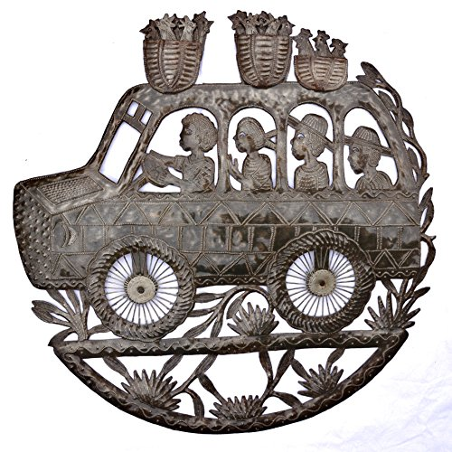 "Tap Tap Bus, Metal Wall Sculpture Recycled Oil Drum Art from Haiti, 23"" x 23"""