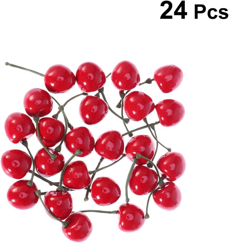 Healifty Cereza Artificial simulaci/ón Realista peque/ñas Cerezas Rojas Modelo de Fruta Falsa Ornamento de Escritorio decoraci/ón del Partido Accesorios de Tiro 26 cm 24 Piezas