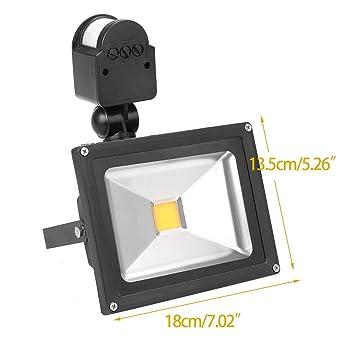 50W LED Fluter Mit Bewegungsmelder Außen Strahler Flutlicht Warmweiß Sicherheit