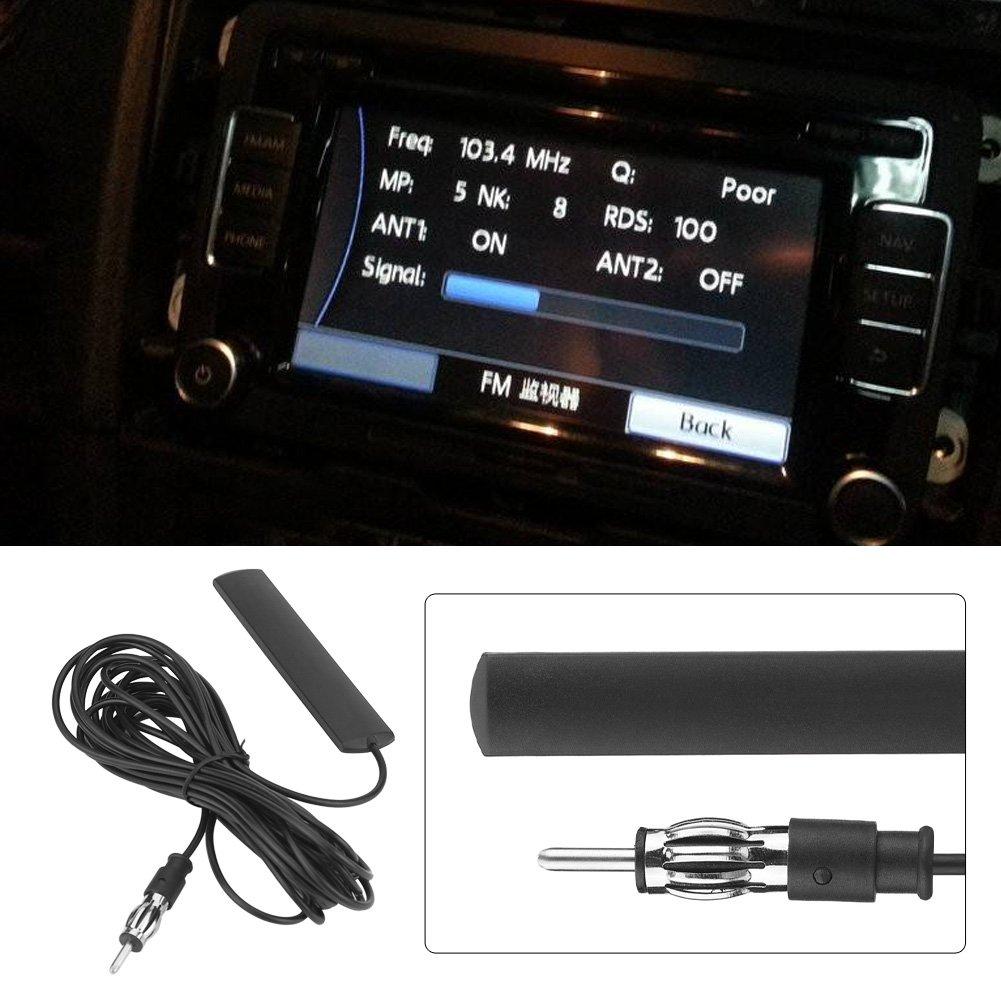 Keenso Universal coche FM Radio Antena Parche Negro Antena Amplificador Antena Antena Parabrisas Soporte 85-112MHZ~5M Cable ANT-309 Antena de radio de coche