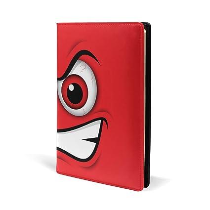 Coosun Emoji Emoticone Mad Cuir Rouge Couverture De Livre