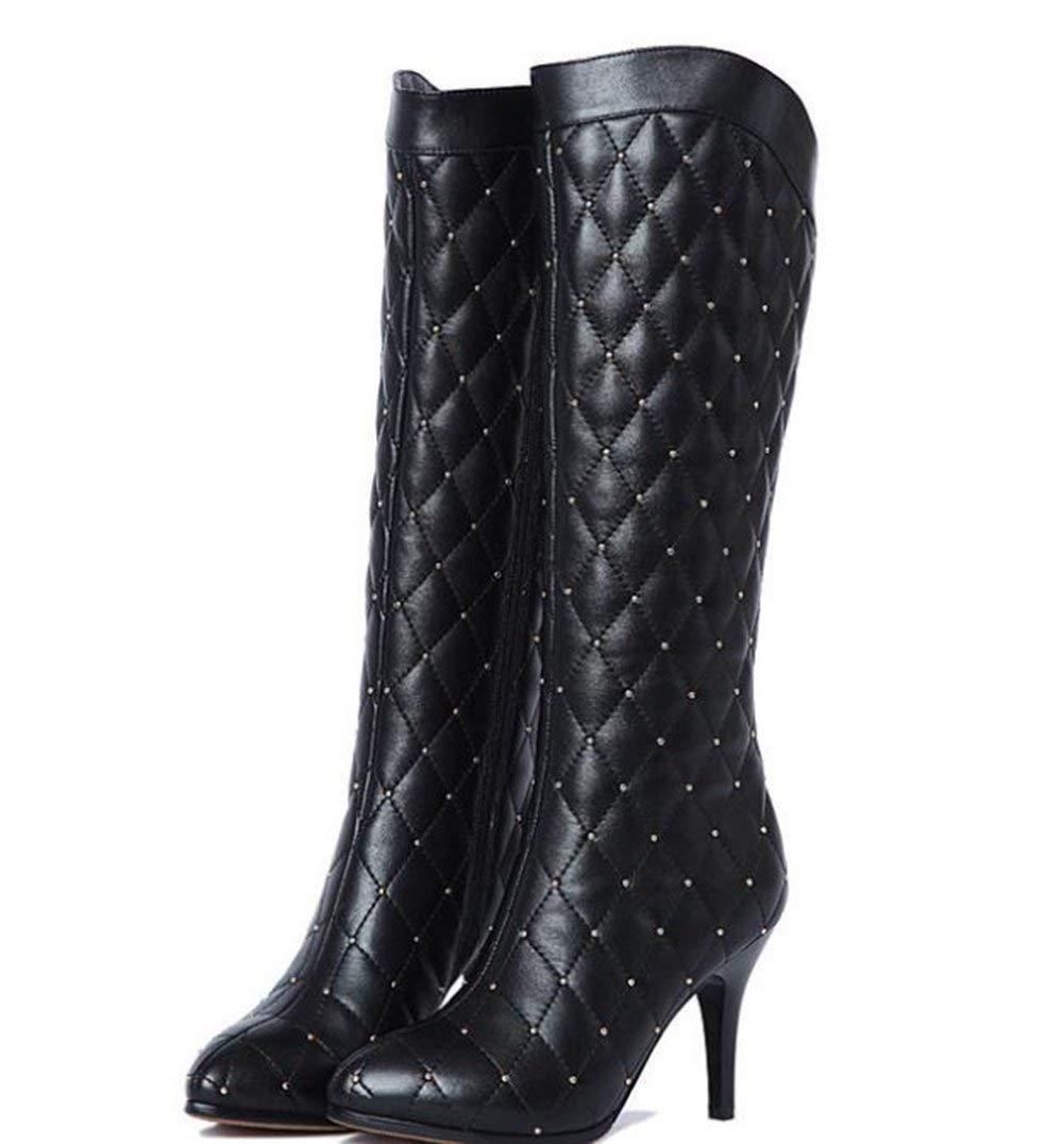 ZHRUI Spitzen Hochhackigen Stiefel Nieten Und Stiefel,Schwarz,37 (Farbe   Wie Gezeigt, Größe   Einheitsgröße)