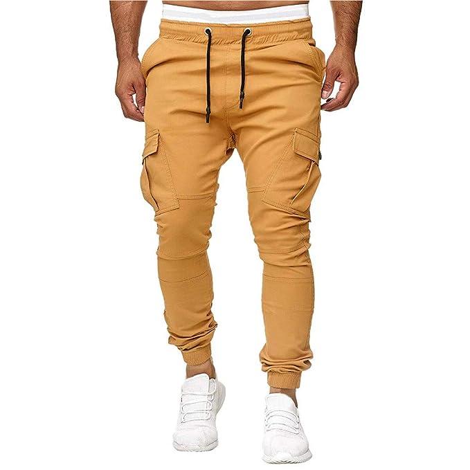 Pantalones Largos para Hombre,Moda Hombres Deporte Joggering Fitness pantalón Casual Suelto Pantalones de chándal