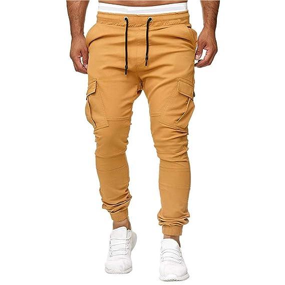 FRAUIT Pantalones para Hombre Casual Color Sólido Pantalones ...
