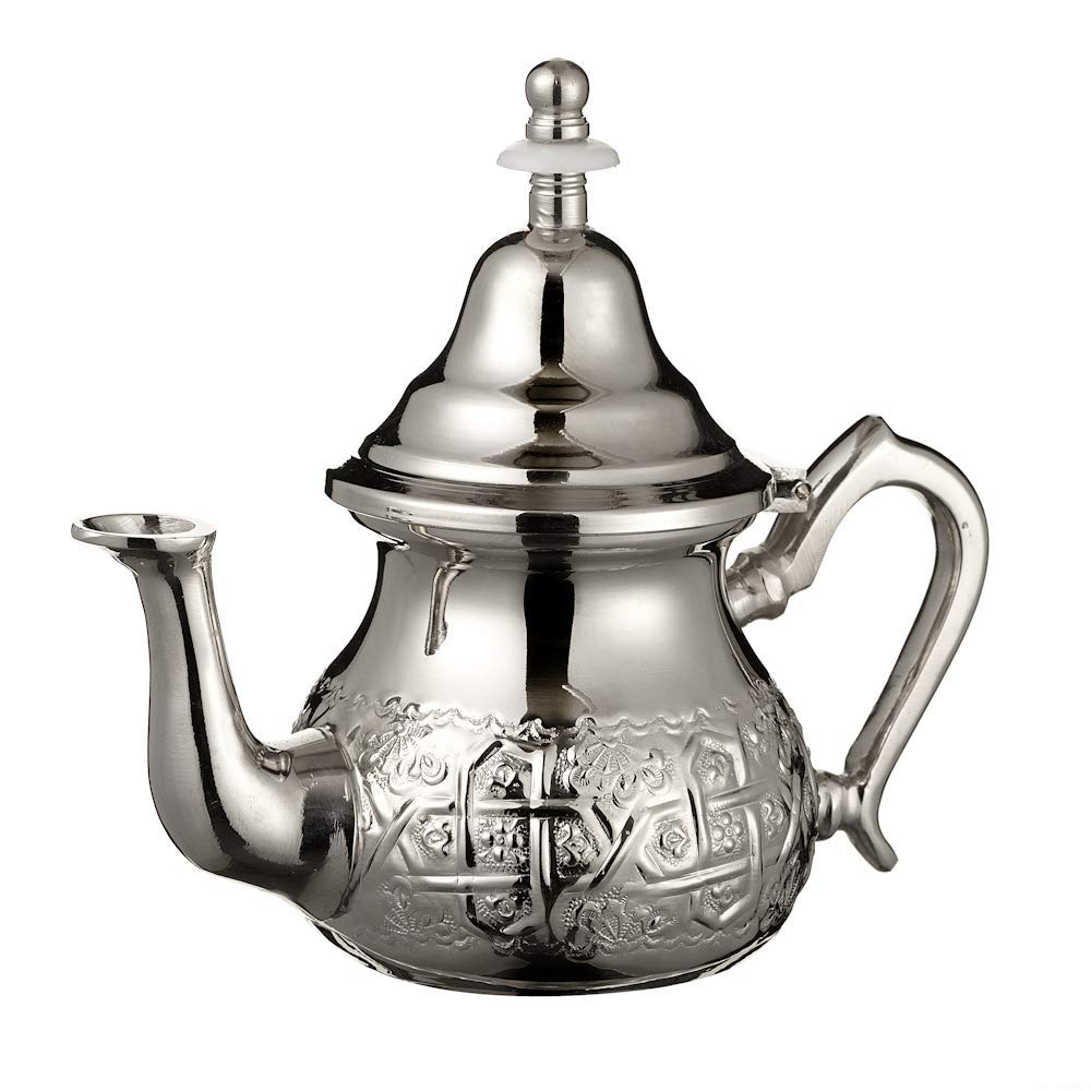 ESSENCE OF MOROCCO Moroccan Silver Teapot with Handle Cover and Integrated Filter. Engraved. Authentic with a Classical Design. Handmade Small. Approximate Capacity: 500 ML. (about 3 Tea Glasses)