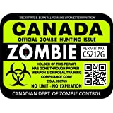 "ProSticker 1207 (One) 7.6cm x 10.1cm Zombie Series ""Canada"" Hunting License Permit Decal Sticker"
