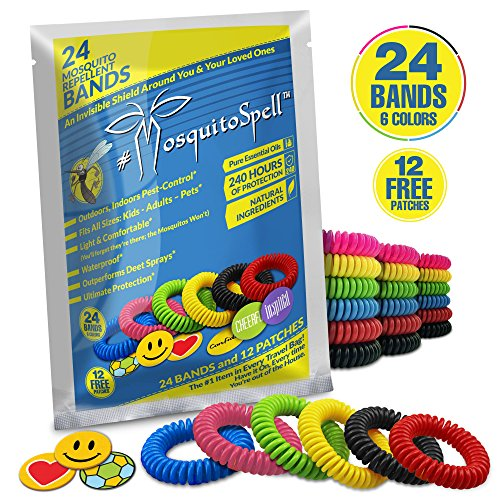 Mosquito Repellent Bracelet For Kids, Adults & Pets – Travel Insect Repellent Design For Maximum Protection Against Bugs, Pests, Waterproof – 24 Pack with FREE BONUS 12 patches