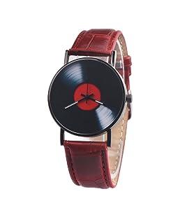 Charberry Mens Vinyl Records Watch Fashion Unisex Retro Design Alloy Quartz Watch (Red)