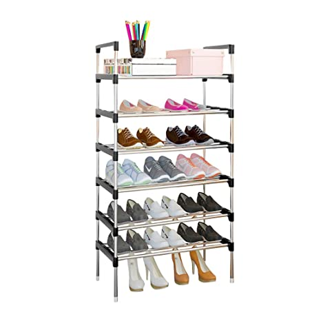 fd17c0830c849 AcornFort® S-504 6 Tiers Adjustable Shoe Storage Shoe Rack Organiser Shelf  Hold Stand for 18 Pairs Shoe, 2017 New Upgrade Sturdy Design, Space Saving,  ...
