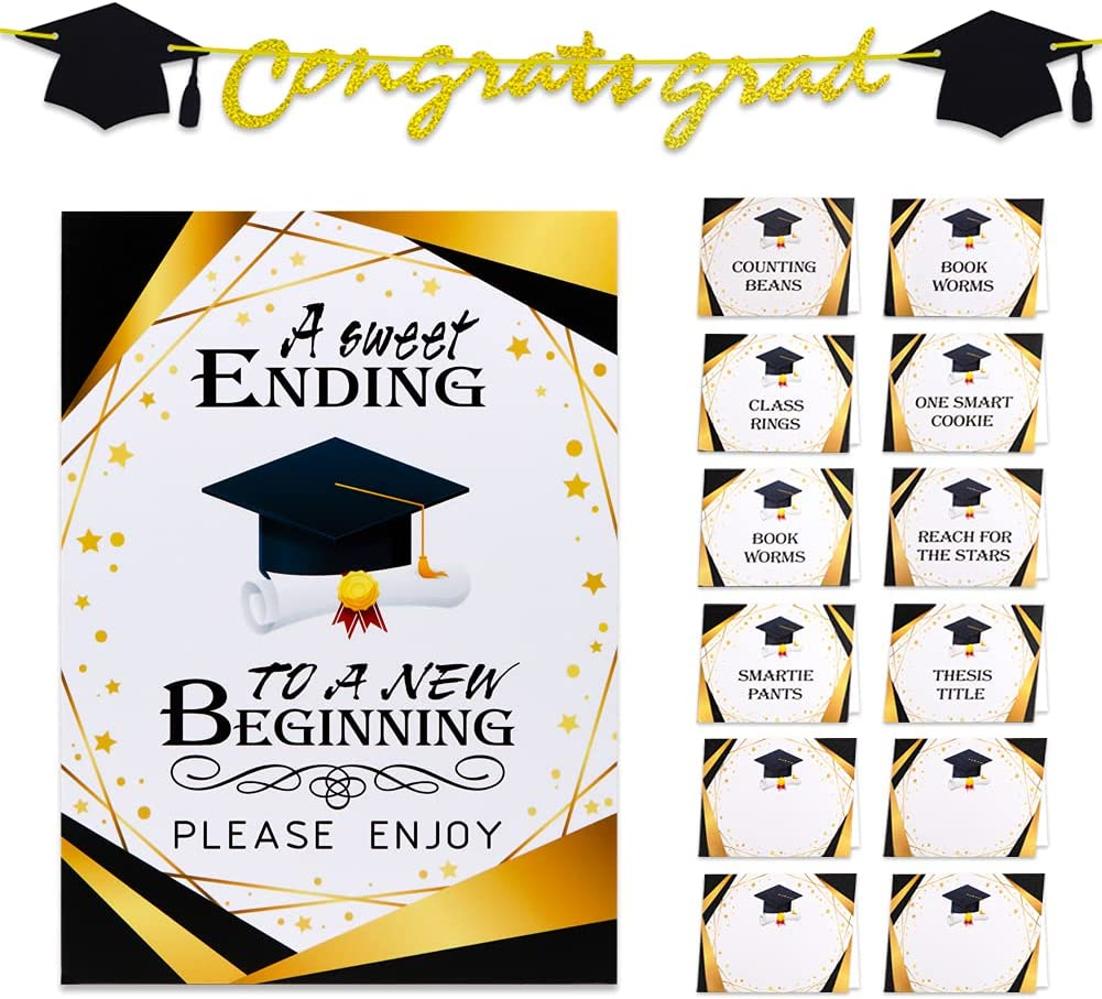 Hohomark 2021 Graduation Decorations,Candy Bar Buffet Glitter Banner Table Sign Label Tent Cards Set for 2021 Graduation Party Decorations Grad Party Favors Supplies Decor for High School College