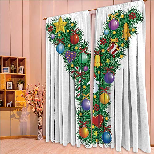 ZHICASSIESOPHIER Print Kids Curtains,Polyester Curtains Panels for Bedroom,Living Room,Items Happy Hearts Colorful Balls Snowman Uppercase 108Wx108L Inch ()