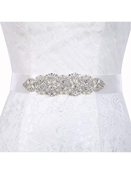 1bbf00976e Brishow Women's Wedding Belt Silver Rhinestone Crystal Bridal Sash ...