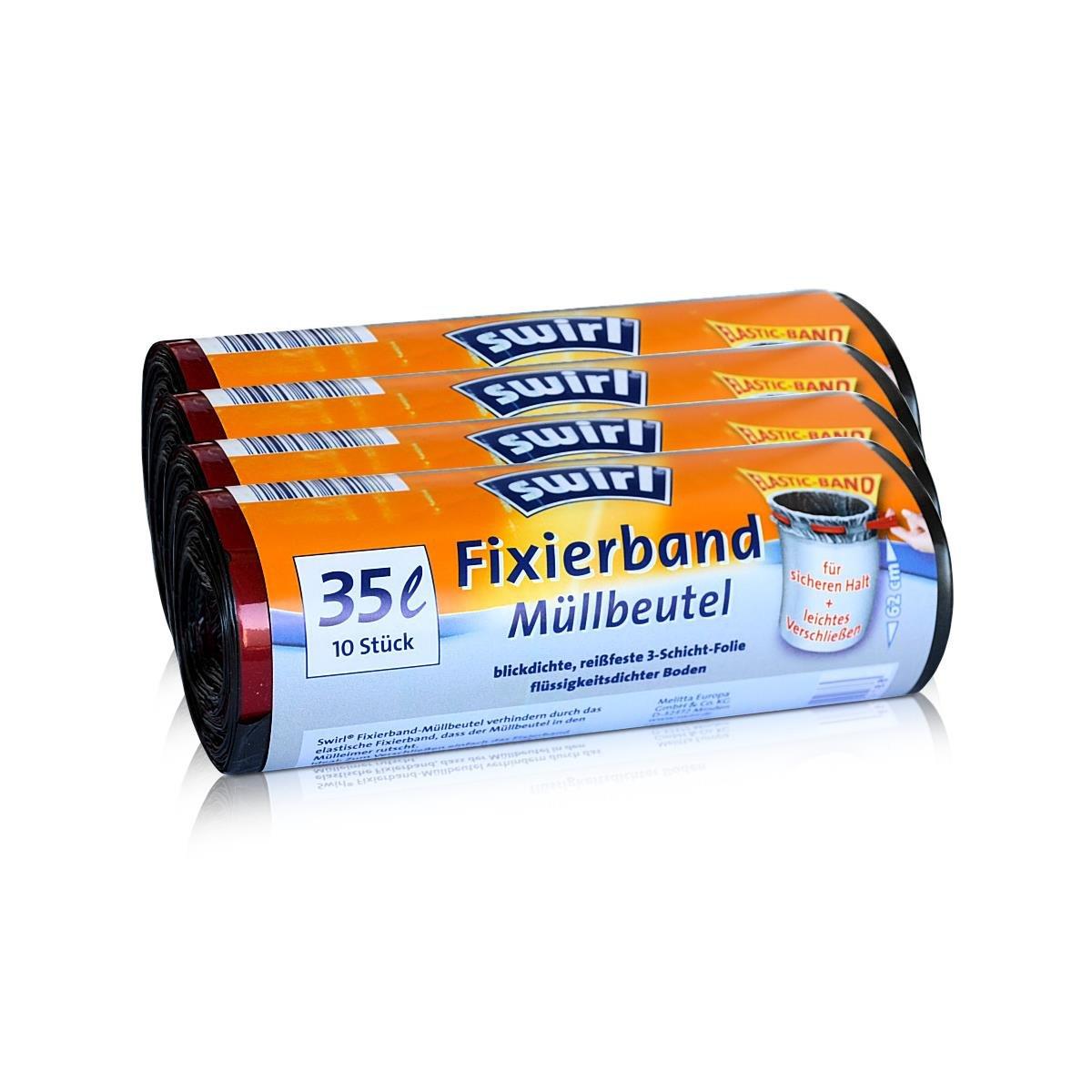 4x Swirl Fixierband Müllbeutel 35L ( 10 stk./Rolle )