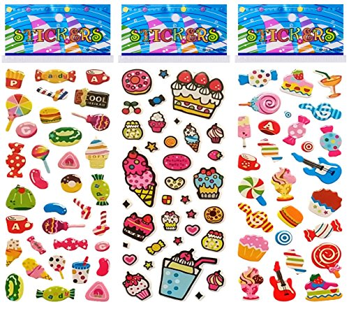 Candy Stickers (6 Sheets Puffy Dimensional Scrapbooking Party Favor Stickers + 18 FREE Scratch and Sniff Stickers - DESSERTS, CANDY_2)