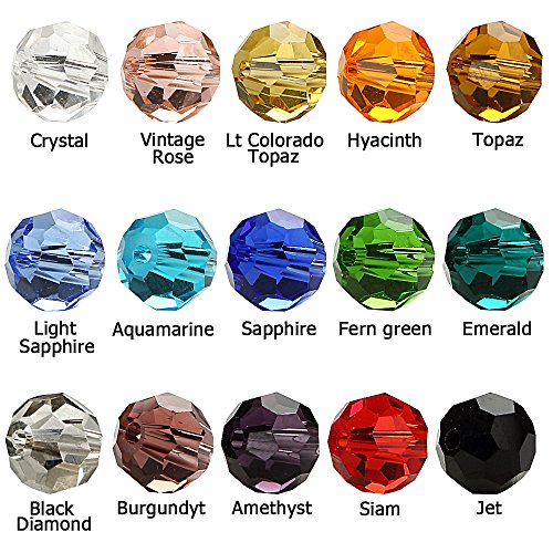 BRCbeads Glass Beads Crystal Findings Spacer Charms 1500pcs Faceted #5000 Round Shape 4mm Assorted Colors Include Plastic Jewelry Container Box Wholesale Mix lot Beads for jewelery Making