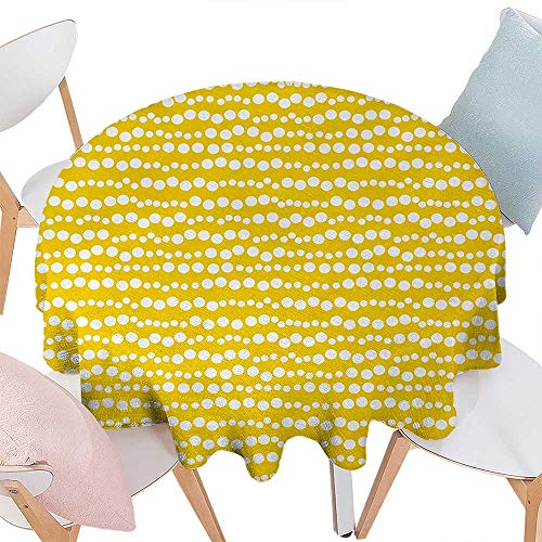 - cobeDecor Yellow and White Printed Round Tablecloth Modern Design Bubble Inspired Circles Rounds Big Little Dots Flannel Round Tablecloth D50 Earth Yellow and White
