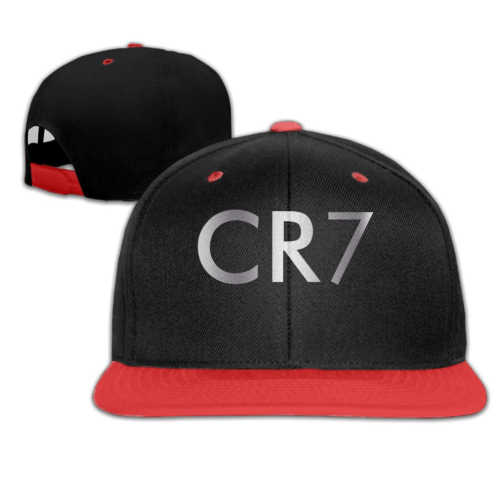Big Boys Cristiano Ronaldo CR7 Logo Platinum Style Baseball Snapback Hat Red iannn